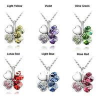 Four Leaf Clover Crystal necklace 8 colors  fashion necklace 200pcs/lot