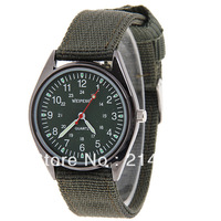 Weipeng Unisex Army Watch with Quartz Analog Dial Cloth Watchband (Olive Green)