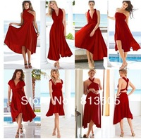 2013 Hot Sale Free Shipping Cheapest Jersey Multi Way Wraps Red Convertible Bridesmaid Dress Evening Party Dresses Long Style