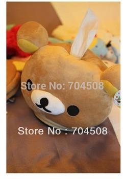 KT12 Lolita Lovely San-x Rilakkuma Cute Bear Head Plush Tissue Box Cover