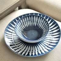 Engaging Shining Fancy New chinese style dish rice bowl set blue peacock tail tableware 4