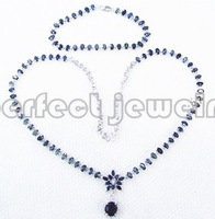 Free shipping Sapphire jewelry set Real and natural sapphires 1pc chain bracelet 1pcs necklace Wholesales S925 sterling silver