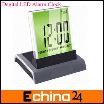 Multiple Functions 7 Clolorful Led Digital Calendar Thermometer Desktop Alarm Clock  Freeshipping