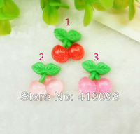Free shipping! Very popular/cute transparent cherry/DIY phone beauty accessories/flat back resin / 3 color optional