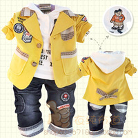 Children's clothing spring and autumn male child baby 100% cotton three piece set child clothes blazer 0 - 4 free shipping