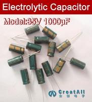Free shipping 500pcs 1000UF 35V electrolytic capacitor,35V 1000 microfarad capacitors