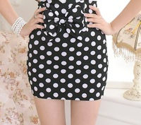 Hot Sale Silm Fit High Waist  Black Bow Polka Dot  Skirts Fashon 2013 Women's Mini Skirt  Drop Shipping