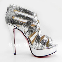 2013 new cheap platforms dress shoes,sexy high heel silver glitter shoes