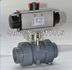 PVC NPT female pneumatic Ball Valve .Free shipping(China (Mainland))