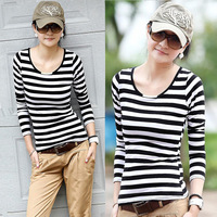 13 spring all-match o-neck slim 100% cotton basic shirt female black and white stripe t-shirt female long-sleeve