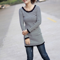 Spring women's lace o-neck slim stripe basic shirt stripe sweater female
