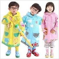 Hugmii cartoon child raincoat fashion baby thickening male female student child poncho set
