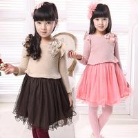 Children's clothing female child sweater one-piece dress spring yarn sweater one-piece dress princess dress