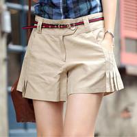 Spring 2014 summer women's vintage 100% all-match cotton shorts beige culottes shorts slim gentlewomen for female Beige DGD091