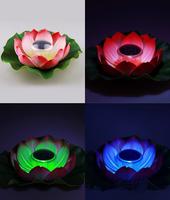 Floating solar lotus lamp  Color charging solar flower lights 30pcs/lot Free shipping