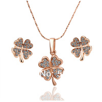 Best Gifts For Mother's Day Cz Rhinestone Necklace Earring Jewelry Set With 18K Rose Gold Filled,African Jewelry Sets 18K Gold39