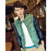 personality suede fabric peacock decorative pattern male jacket fashion slim coat y99