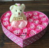 Birthday wedding gift bear rose soap flower gift box