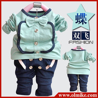 5 sets/lot Baby girl's sets hoody + pants children baby wear clothing children outfit clothes cotton suits free shipping CD057