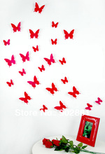 [funlife]-FUNLIFE Exclusive Peach red summer 12pcs/pack 6big+6small 3d PVC Lovely butterflies(China (Mainland))