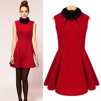 Free Shipping 2013 Autumn Quality Branded Christmas Fur Collar Dress Sleeveless Woolen Women's Winter Dress LY121433