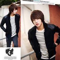 hot sale 2013 new B05  wheat it leather fashion slim baseball clothing male jacket p55 free shipping