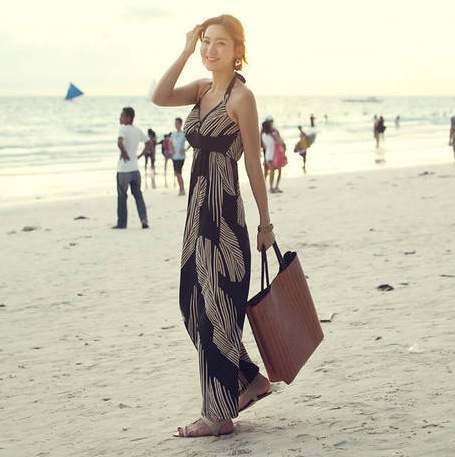 The new Bali black feathers Bohemian vacation beach dress(China (Mainland))