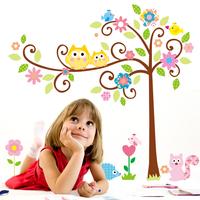 Owl Scroll Tree & Play House Wall Art Decal Removable Nursery Kids Sticker Decor