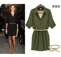 Fashion High Quality Slim Lady Dress Turn down Collar Chiffon Ladies Summer Dresses 2013 with Free Belt 1183