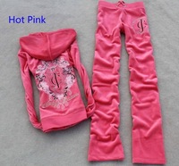 free shipping women's long sleeve sweatshirt tracksuit sport suits jacket + pants size S M L XL