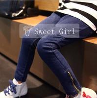Baby leggings fashion jeans pants girls denim trousers kids zipper leggings wholesale free shipping  5pcs