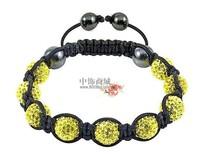 Shamballa jewelry Wholesale New Crystal Shamballa Bracelets Micro Pave CZ Disco Ball Bead golden & white Free shipping FWR36