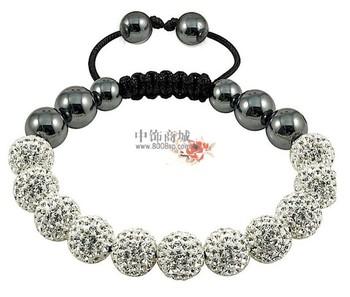 Tresor Paris Wholesale Purple Shamballa Bracelets Micro Pave CZ Disco Ball Bead clay bracelet Free shipping  FWE985