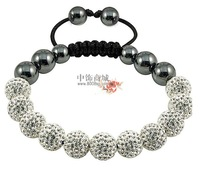 Tresor Paris Wholesale Purple Shamballa Bracelets Micro Pave CZ Disco Ball Bead clay bracelet Free shipping  FWE985