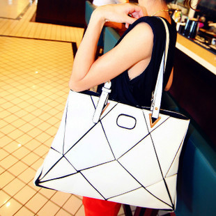 Fashion personality 2013 patchwork shoulder bag female bags all-match fashion bag watercubic bags (free shipping)(China (Mainland))