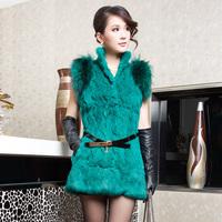 Fur vest 2014 new 100% real natural rex rabbit fur vest medium-long raccoon shoulder fur outerwear stand  color WTP2