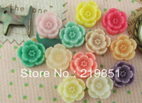 Free shipping wholesale DIY accessory (mix color) 10mm flat back resin flower cabochons for jewelry SZ37