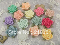 Free shipping wholesale DIY accessory (mix color) 40mm flat back resin flower cabochons for jewelry SZ33