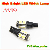 Free shipping 10pcs/lot  High bright T10 W5W 194 168  9SMD LED width Lamp With no polarity function car wedge light bulb