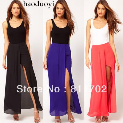 Sell like hot cakes, split of irregular solid color chiffon women skirt, free shipping(China (Mainland))