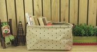 Free shipping.Japanese grocery Zakka cotton and linen storage box, desktop storage box, brown wave pattern.Folding.