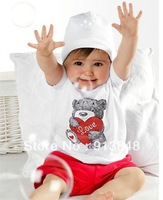 2013 Newest summer baby Clothes Set t-shirt + pants 2pcs bear with love Baby Boys clothing Suit 5sets/lot Free Shipping