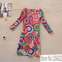 2013 spring and summer new Arrival Europe and America women vintage print plus size pencil skinny dress