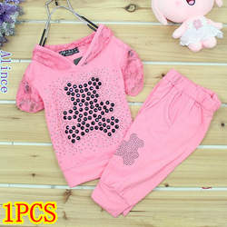 Girls' Sets baby girls Clothling Retail 1 PCS short sleeves Lace sets bear cartoon short T-shirt+short pants 2pcs suit Pink Red(China (Mainland))