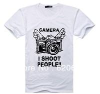 Free Shipping Wholesale and retail 2013 New Fashion men's T-shirt Short sleeve T-shirt camera printing