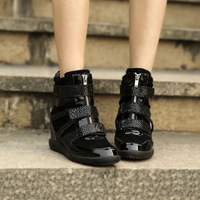 Free shipping 2013 new design fashion High heel shoes, genuine leather sneakers,women shoes,wedges sneakers,dress shoe