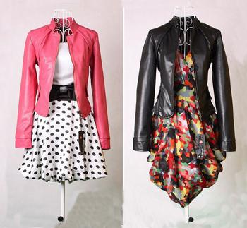 1 Piece  Korean Style Stand Collar Jacket, Women's Fashion Short Slim Leather,Rose/Black Color,M/L/XL Size,GM905
