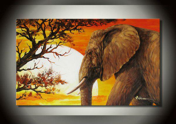 Elephant peinture africaine coucher de soleil paysage abstrait art peinture l 39 huile la main for Peinture chambre style africain