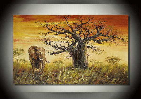 Африканский-слон-хоу-хлебным-деревом- ...: ru.aliexpress.com/item/African-elephant-the-Hou-bread-tree-painting...