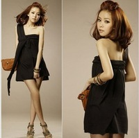 Free Shipping NEW 106 spring one-piece dress one shoulder women's sexy slim suspender skirt YY